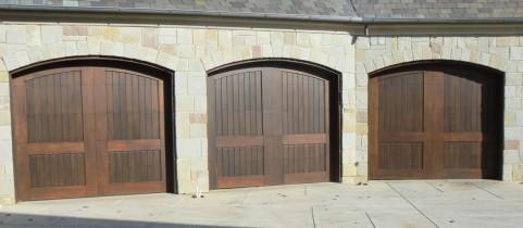 Three Custom Wood Garage Doors