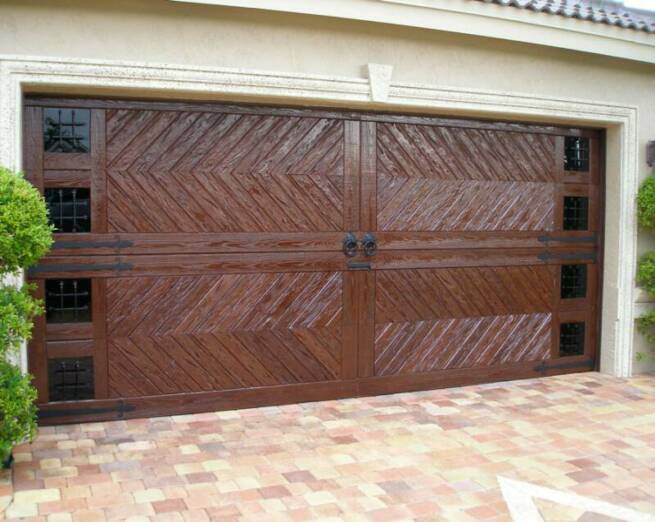 Dark Wood Chevron Pattern Custom Garage Door
