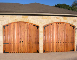 Two Red Wooden Garage Doors