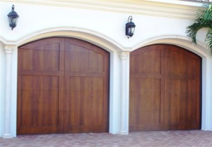 Two Deep Dark Wood Garage Doors