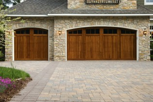 Wooden Doors Garage Doors with Stone Border