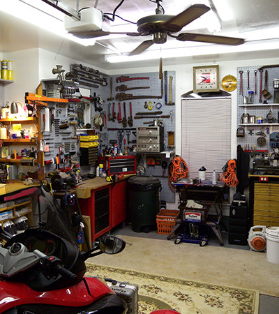 Organized garage with open space